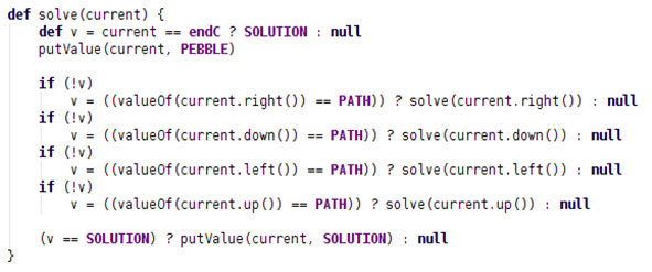 The solve method of the Maze class written in Groovy
